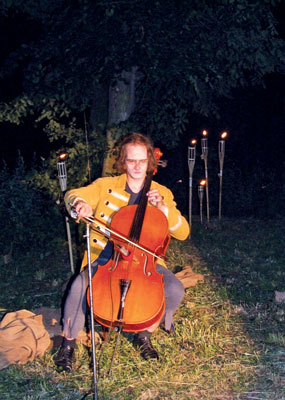 Jan Kavan playing a solo cello piece.
