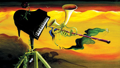 Oil painting Suite for Biophilic Piano Attacked by Masochistic Tuba by Lubo Kristek